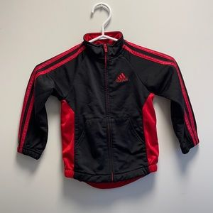 Adidas black & red zip up track jacket size 2T